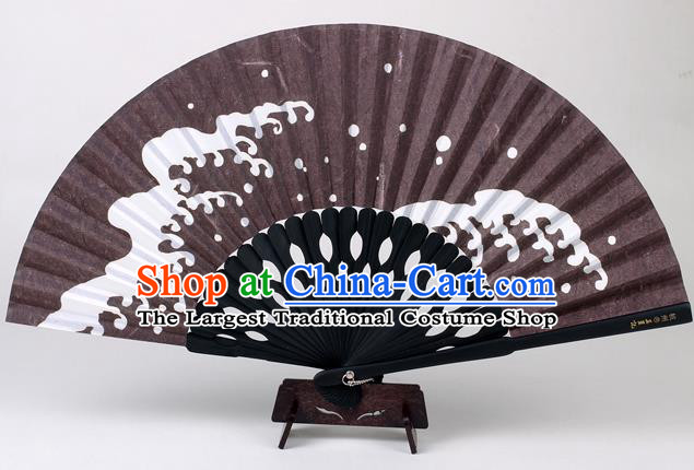 Traditional Chinese Handmade Printing Wave Brown Silk Folding Fan China Accordion Fan Oriental Fan