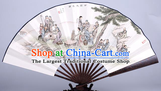Traditional Chinese Handmade Printing Paper Folding Fan China Wenge Accordion Fan Oriental Fan