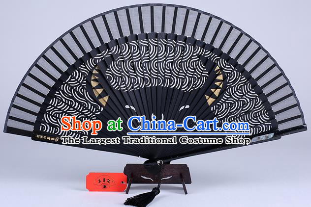 Traditional Chinese Handmade Carving Zodiac Cow Folding Fan China Bamboo Accordion Fan Oriental Fan