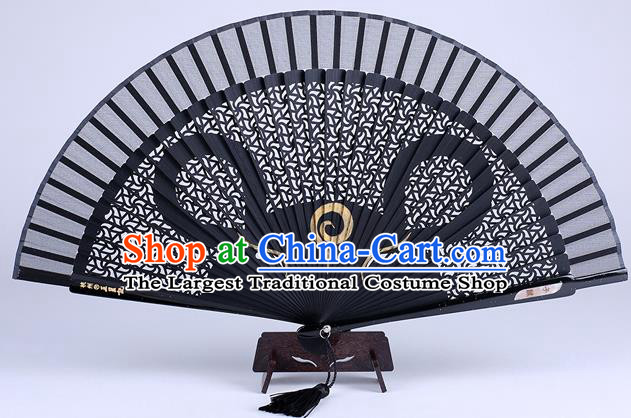 Traditional Chinese Handmade Carving Zodiac Rat Folding Fan China Bamboo Accordion Fan Oriental Fan