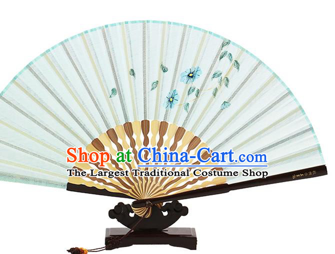 Traditional Chinese Printing Flowers Light Green Flax Fan China Bamboo Accordion Folding Fan Oriental Fan