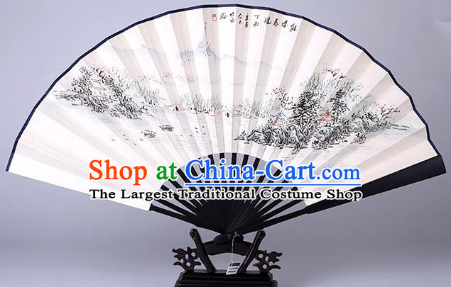 Traditional Chinese Handmade Painting Autumn View Paper Folding Fan China Wood Accordion Fan Oriental Fan