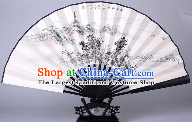 Traditional Chinese Handmade Painting Paper Folding Fan China Wood Accordion Fan Oriental Fan