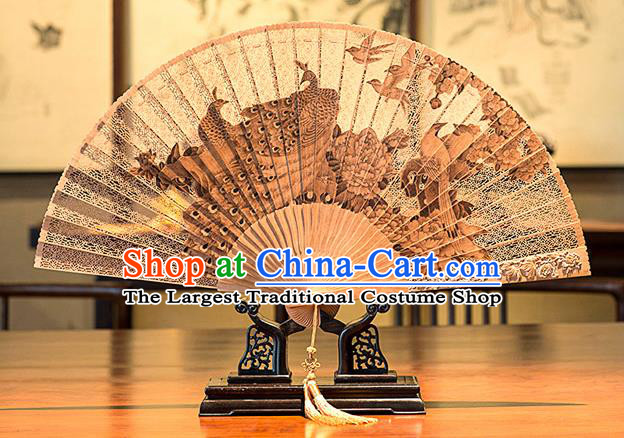 Traditional Chinese Hand Carving Peacock Sandalwood Fan China Accordion Folding Fan Oriental Fan