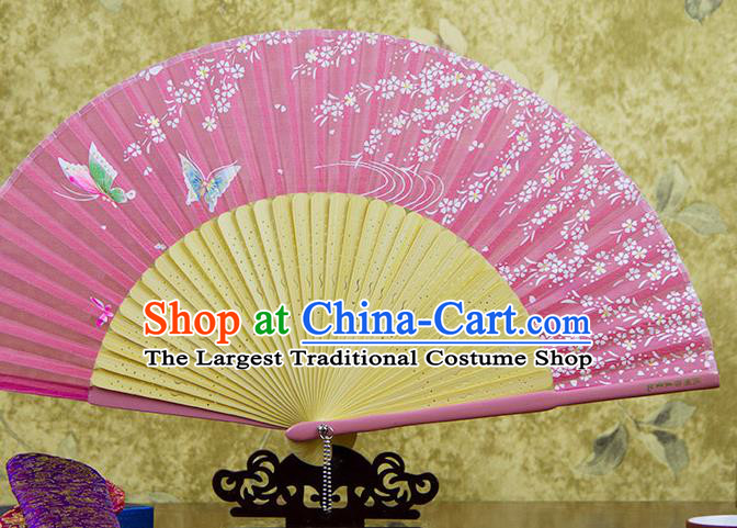 Traditional Chinese Printing Butterfly Pink Silk Fan China Bamboo Accordion Folding Fan Oriental Fan