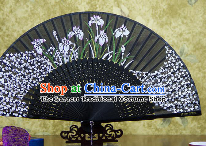 Traditional Chinese Printing Orchids Black Silk Fan China Bamboo Accordion Folding Fan Oriental Fan