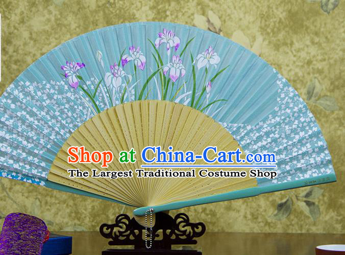 Traditional Chinese Printing Orchids Blue Silk Fan China Bamboo Accordion Folding Fan Oriental Fan