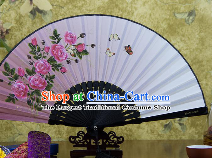 Traditional Chinese Printing Rose Pink Flax Fan China Bamboo Accordion Folding Fan Oriental Fan