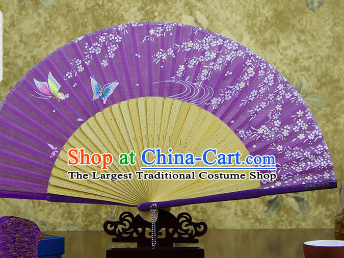 Traditional Chinese Printing Butterfly Purple Silk Fan China Bamboo Accordion Folding Fan Oriental Fan