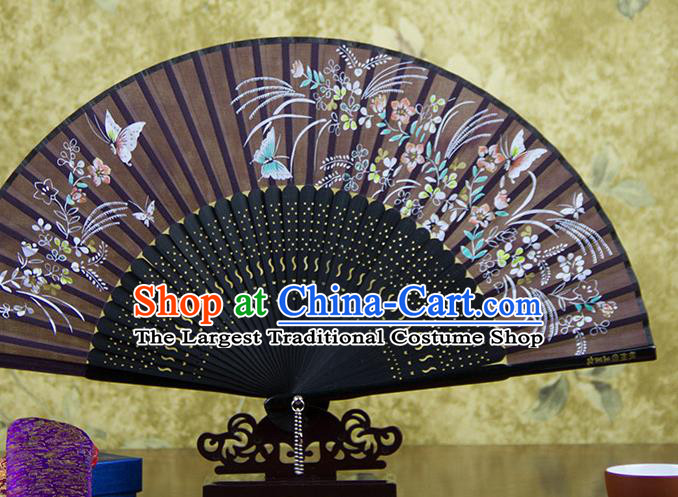 Traditional Chinese Printing Butterfly Brown Silk Fan China Bamboo Accordion Folding Fan Oriental Fan