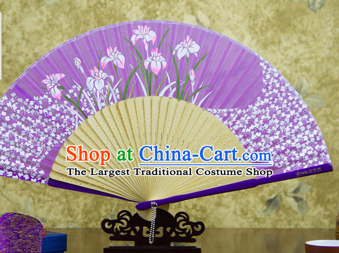 Traditional Chinese Printing Orchids Purple Silk Fan China Bamboo Accordion Folding Fan Oriental Fan