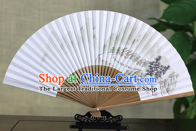 Traditional Chinese Ink Painting Land of Idyllic Beauty Art Paper Fan China Bamboo Accordion Folding Fan Oriental Fan