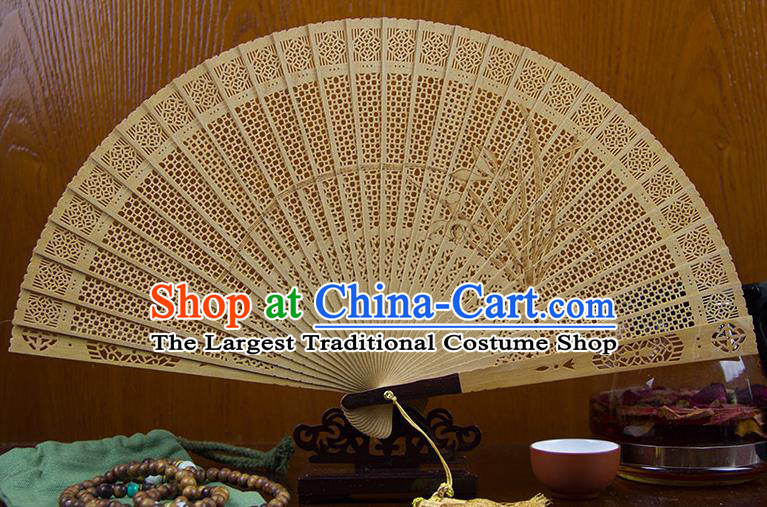 Traditional Chinese Hand Carving Orchid Sandalwood Fan China Wood Accordion Folding Fan Oriental Fan