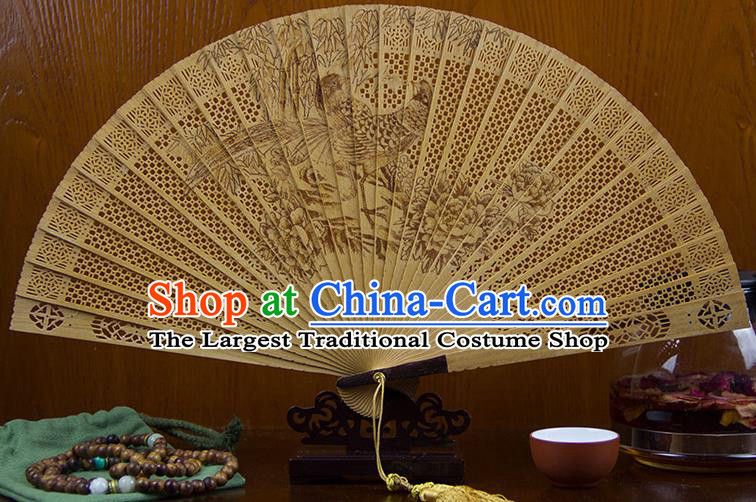 Traditional Chinese Hand Carving Peony Goddess Sandalwood Fan China Wood Accordion Folding Fan Oriental Fan