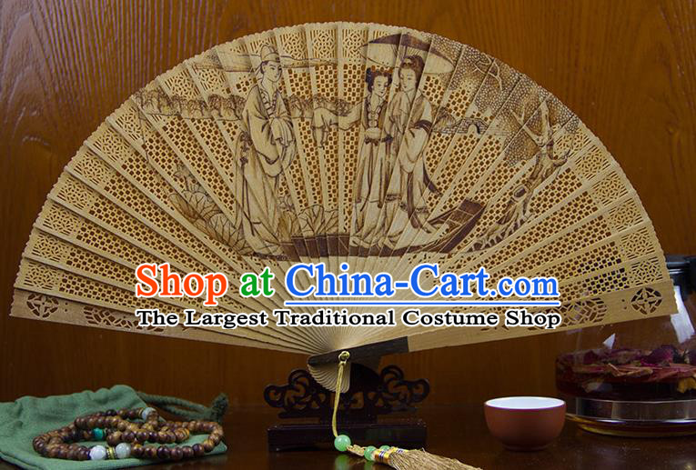 Traditional Chinese Hand Carving Madam White Snake Sandalwood Fan China Wood Accordion Folding Fan Oriental Fan