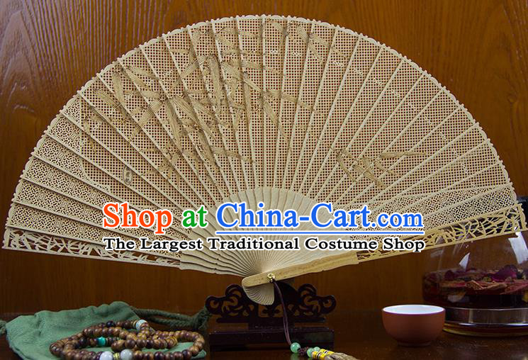 Traditional Chinese Hand Carving Bamboo Leaf Sandalwood Fan China Wood Accordion Folding Fan Oriental Fan