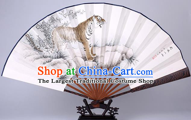 Traditional Chinese Hand Painting Tiger Paper Fan China Bamboo Accordion Folding Fan Oriental Fan