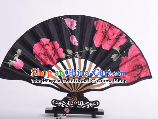Traditional Chinese Printing Rose Black Silk Fan China Bamboo Accordion Folding Fan Oriental Fan