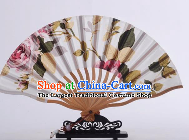 Traditional Chinese Printing Rose White Silk Fan China Bamboo Accordion Folding Fan Oriental Fan