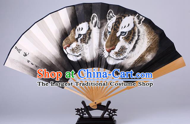 Traditional Chinese Hand Painting Tiger Black Paper Fan China Bamboo Accordion Folding Fan Oriental Fan