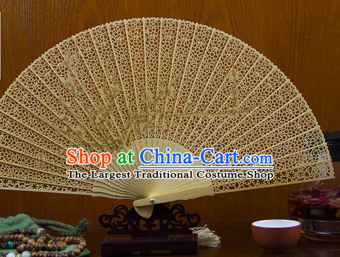 Traditional Chinese Hand Painting Plum Blossom Sandalwood Fan China Accordion Folding Fan Oriental Fan