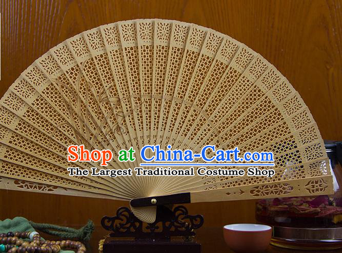Traditional Chinese Hand Painting Orchid Sandalwood Fan China Accordion Folding Fan Oriental Fan