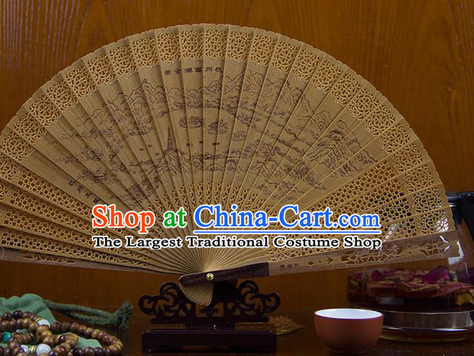 Traditional Chinese Hand Painting West Lake Sandalwood Fan China Accordion Folding Fan Oriental Fan