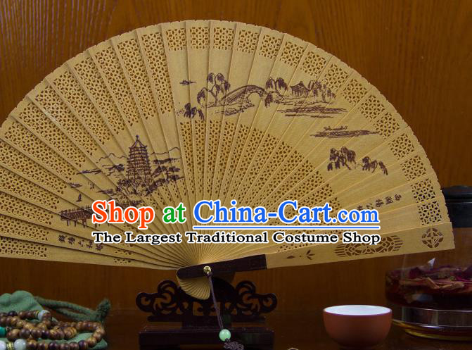 Traditional Chinese Hand Painting West Lake Scenery Sandalwood Fan China Accordion Folding Fan Oriental Fan