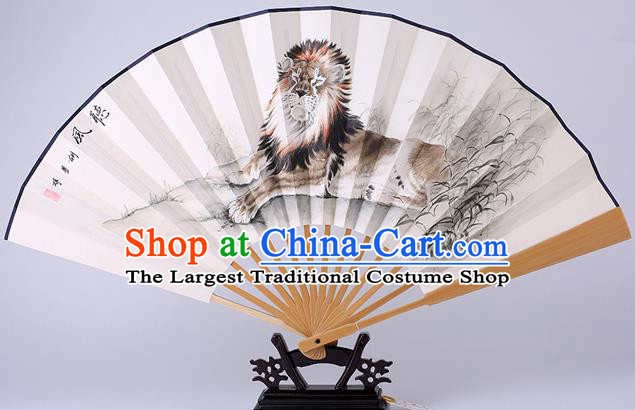 Traditional Chinese Hand Painting Lion Paper Fan China Bamboo Accordion Folding Fan Oriental Fan