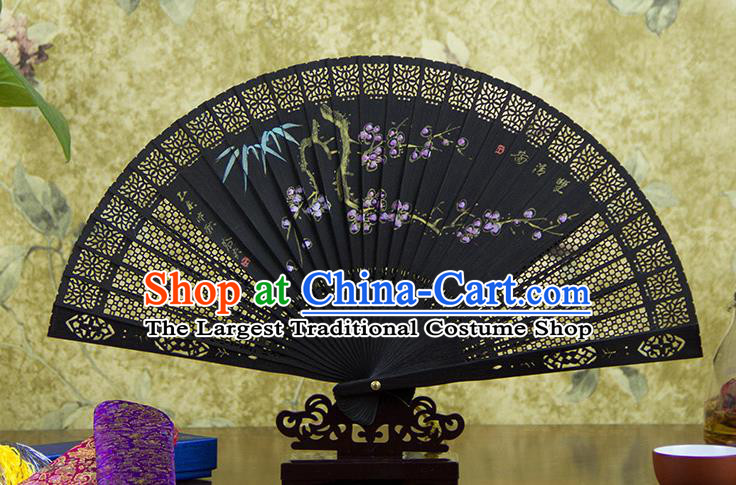 Traditional Chinese Hand Painting Plum Blossom Ebony Fan China Accordion Folding Fan Oriental Fan