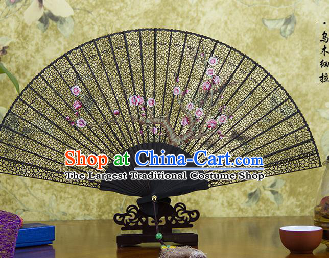 Traditional Chinese Hand Painting Pink Plum Blossom Ebony Fan China Accordion Folding Fan Oriental Fan