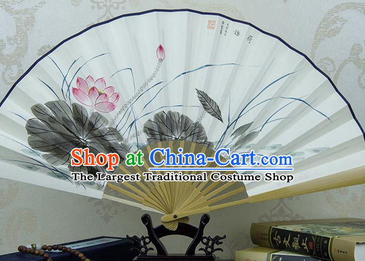 Traditional Chinese Hand Painting Lotus Paper Fan China Accordion Folding Fan Oriental Fan