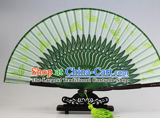 Traditional Chinese Printing Leaf Green Silk Fan China Bamboo Accordion Folding Fan Oriental Fan