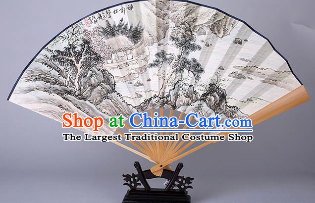 Traditional Chinese Handmade Ink Painting Pinetree Paper Folding Fan China Accordion Fan Oriental Fan