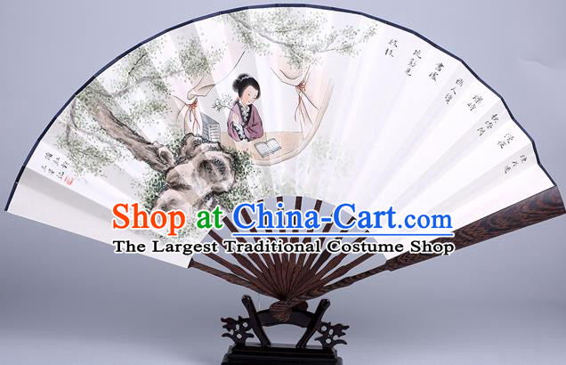 Traditional Chinese Handmade Printing Beauty Paper Folding Fan China Wenge Accordion Fan Oriental Fan