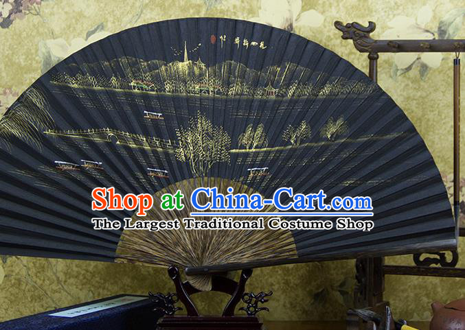 Traditional Chinese Hand Painting Broken Bridge Mulberry Paper Fan China Accordion Folding Fan Oriental Fan