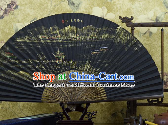 Traditional Chinese Hand Painting Flower Harbor Mulberry Paper Fan China Accordion Folding Fan Oriental Fan