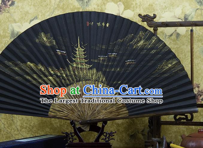 Traditional Chinese Hand Painting Lei Feng Tower Mulberry Paper Fan China Accordion Folding Fan Oriental Fan