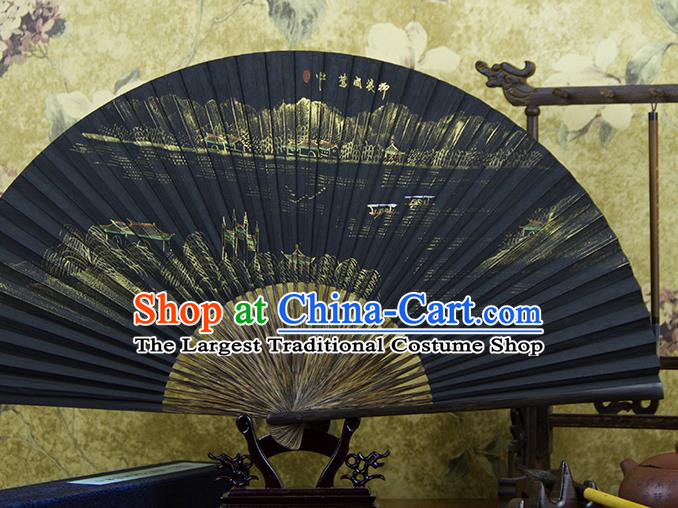 Traditional Chinese Hand Painting Spring View Mulberry Paper Fan China Accordion Folding Fan Oriental Fan
