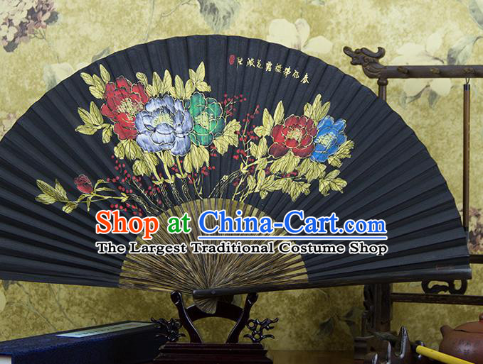 Traditional Chinese Hand Painting Peony Mulberry Paper Fan China Accordion Folding Fan Oriental Fan