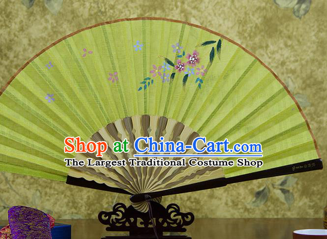 Traditional Chinese Printing Flowers Yellow Flax Fan China Bamboo Accordion Folding Fan Oriental Fan