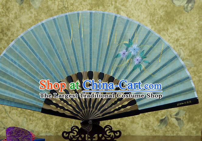 Traditional Chinese Printing Flowers Green Flax Fan China Bamboo Accordion Folding Fan Oriental Fan
