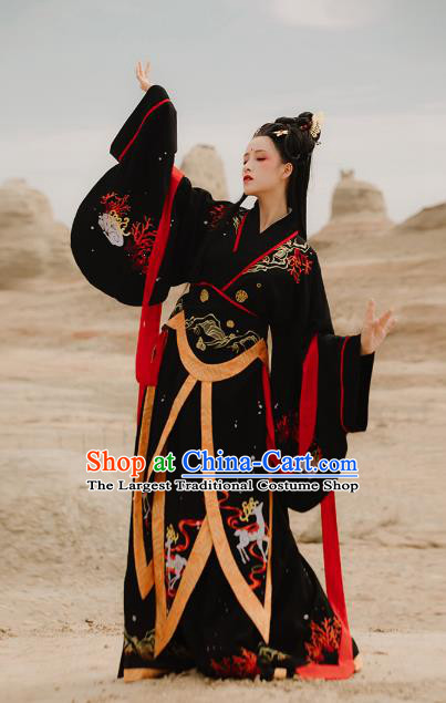 Traditional Chinese Ancient Goddess Black Hanfu Dress Han Dynasty Imperial Consort Historical Costumes for Women