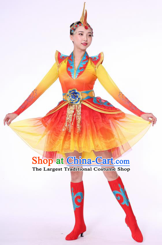 Chinese Traditional Drum Dance Dress China Folk Dance Stage Performance Costume for Women
