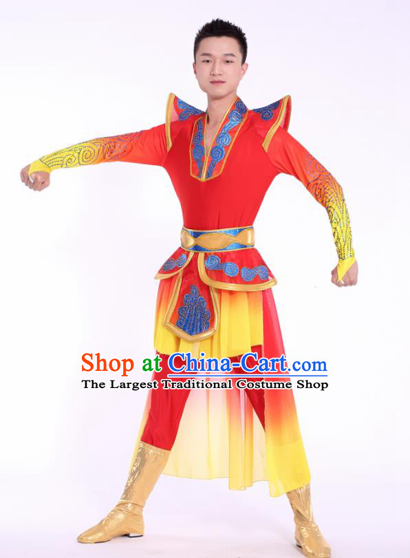 Chinese Traditional Male Drum Dance Clothing China Folk Dance Stage Performance Costume for Men