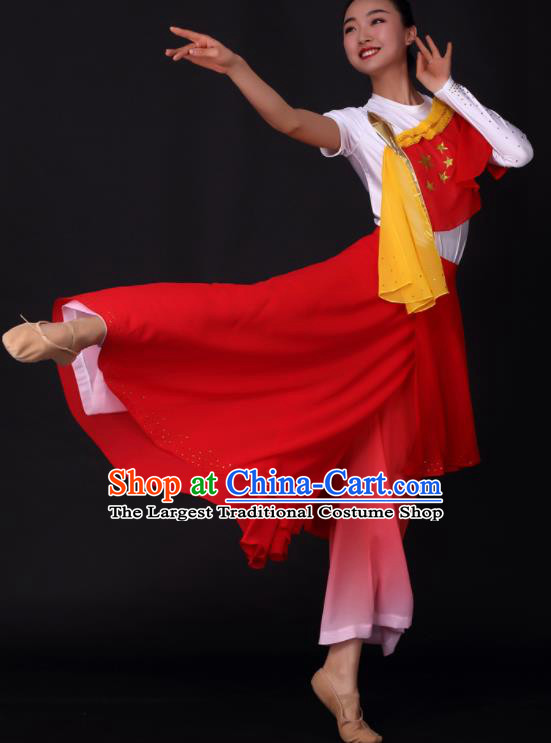 Chinese Traditional Drum Dance Red Dress China Folk Dance Stage Performance Costume for Women
