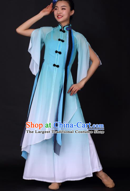 Chinese Traditional Classical Dance Blue Dress China Umbrella Dance Stage Performance Costume for Women