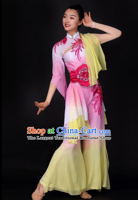 Chinese Traditional Yangko Dance Pink Dress Folk Dance Stage Performance Costume for Women