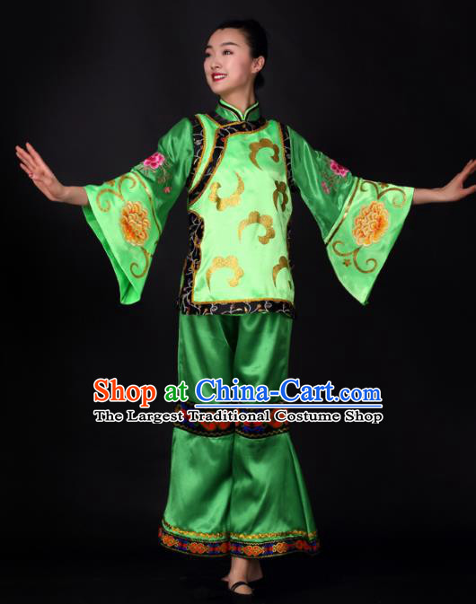 Chinese Traditional Yangko Dance Green Outfits Folk Dance Stage Performance Costume for Women