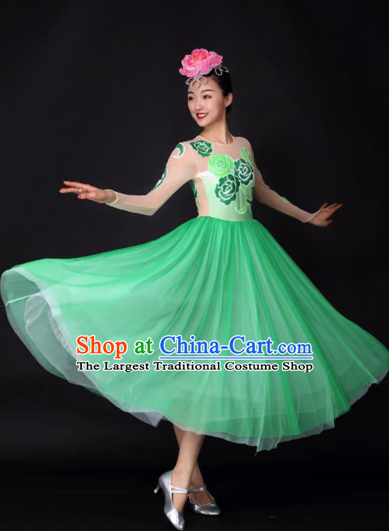 Professional Modern Dance Chorus Green Dress Opening Dance Stage Performance Costume for Women